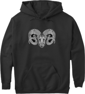Aries Ram Zodiac Astrology Pull Over Pocket Pouch Hoodie