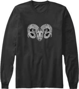 Long Sleeve Aries Zodiac Astrology Black and White Ram Birth Sign Top